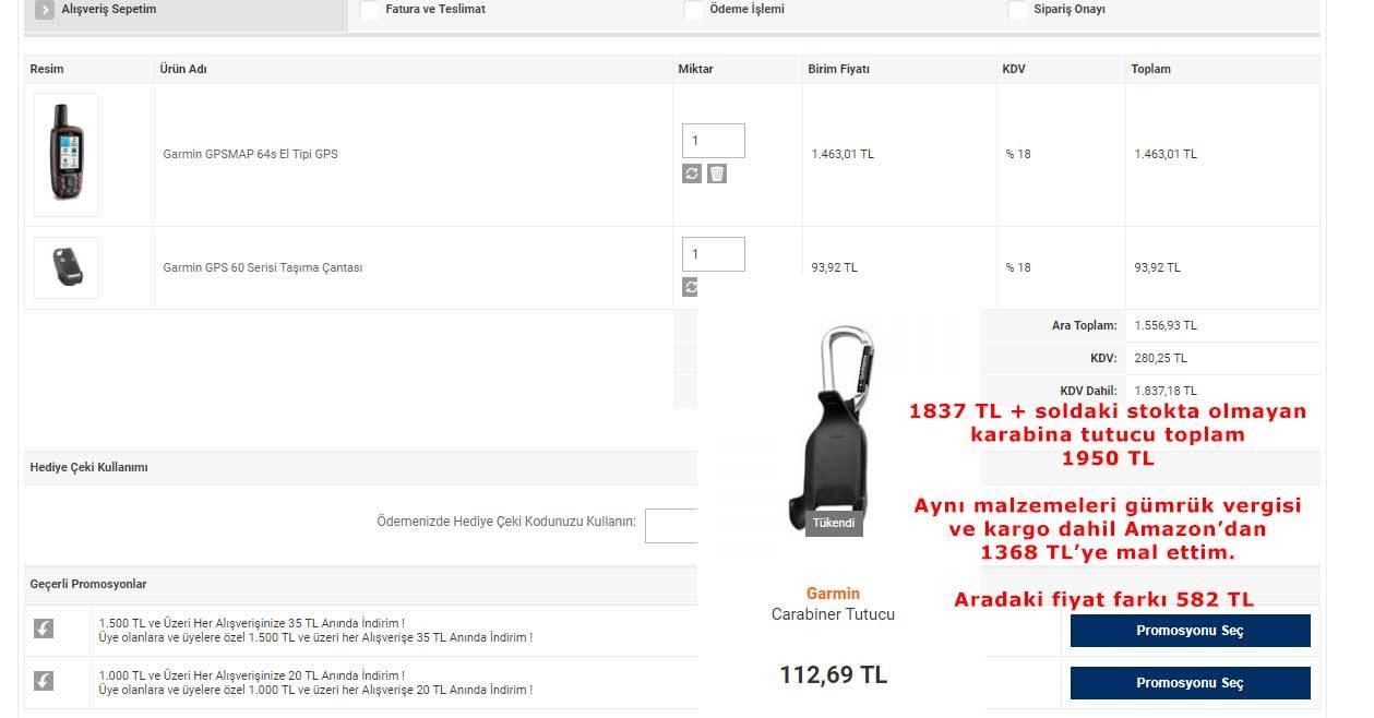 Amazon ve Türkiye satış fiyatları