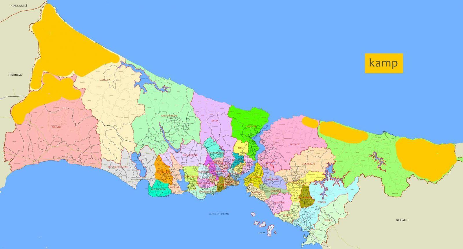 İstanbul'da kamp kurulabilecek alanlar haritası