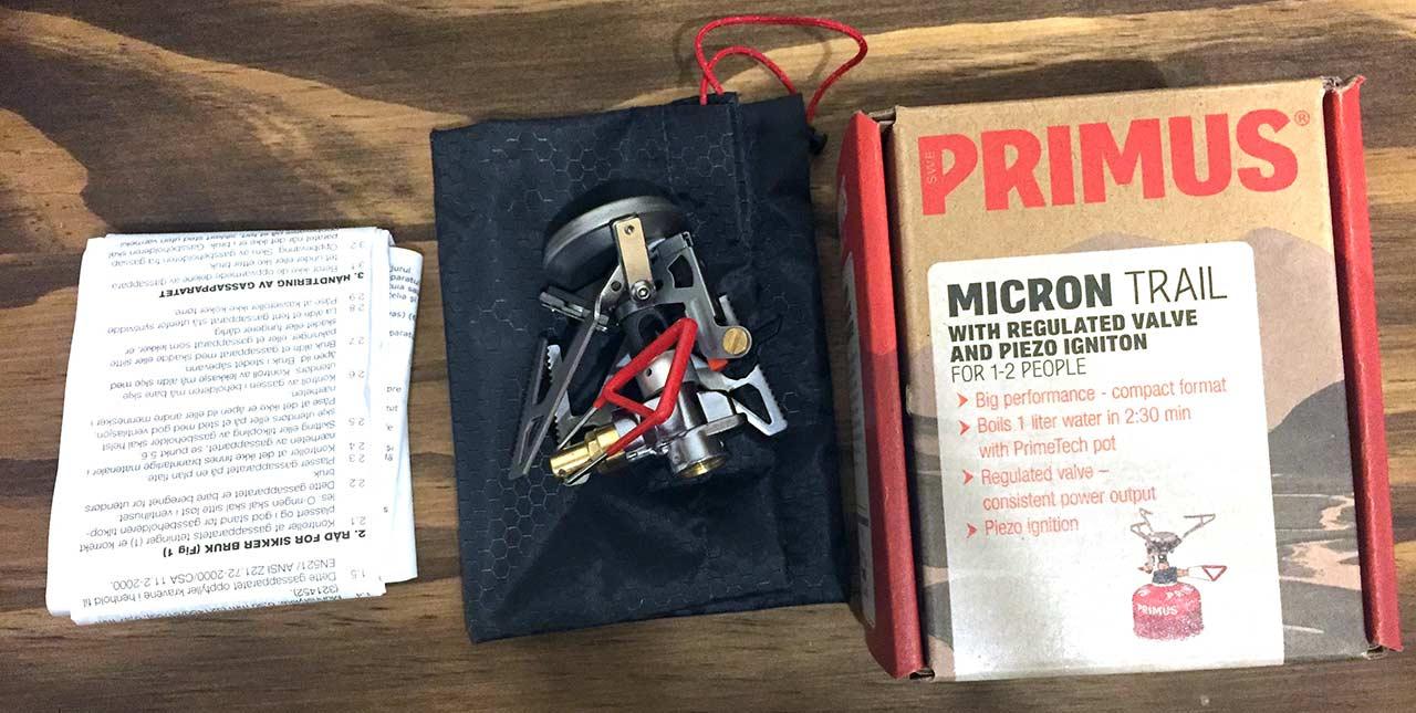 Primus ocağın kutu içeriği