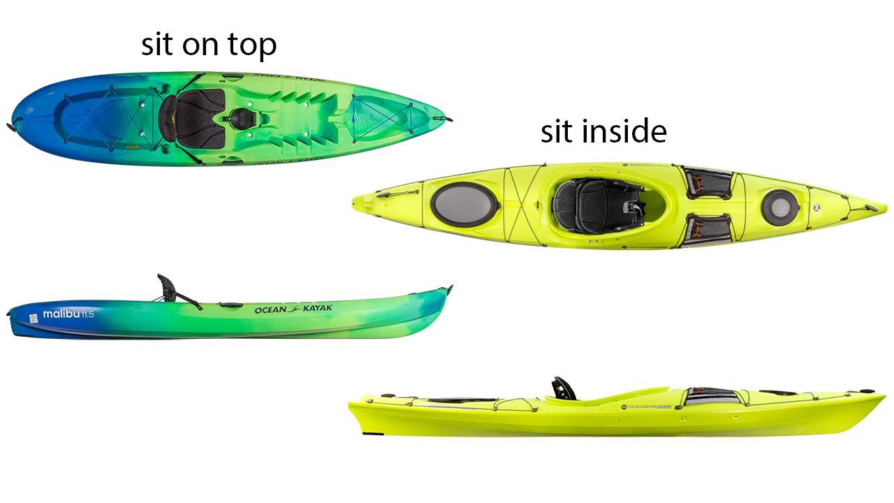 sit inside ve sit on top kayaklar